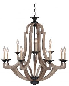 35112-WP Chandelier Weathered Pine