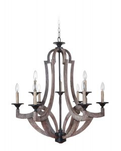 35129-WP Chandelier Weathered Pine