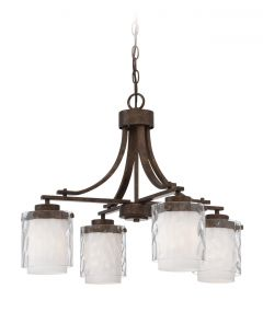 35424-PR Down Chandelier Peruvian Bronze
