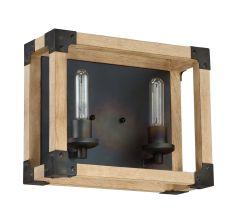 41502-FSNW Vanity Light Fired Steel-Natural Wood