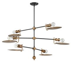 42326-FBPAB Chandelier Flat Black-Patina Aged Brass