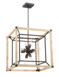 43738-TBDO Chandelier Textured Black-Distressed Oak