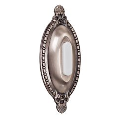 Designer Surface Mount Buttons Surface Mount Oval Ornate Lighted Push Button in Antique Pewter