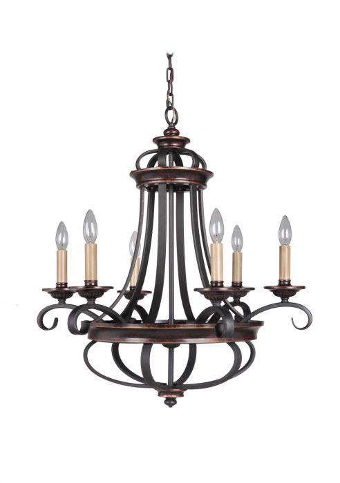 38726-AGTB Chandelier Aged Bronze-Textured Black