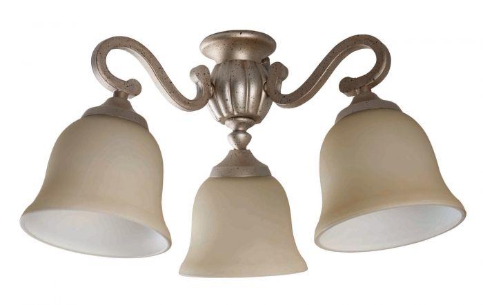 3 Light Fitter and Glass 3 Light Universal Fan Light Kit
