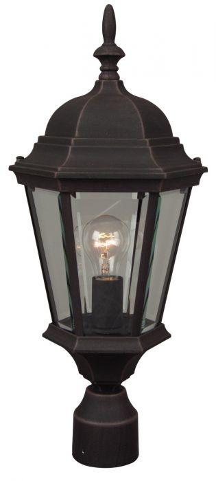 Straight Glass Cast 1 Light Post Mount